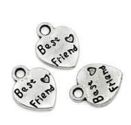 10 x Antique Silver Best Friend Love Heart Charm Pendants